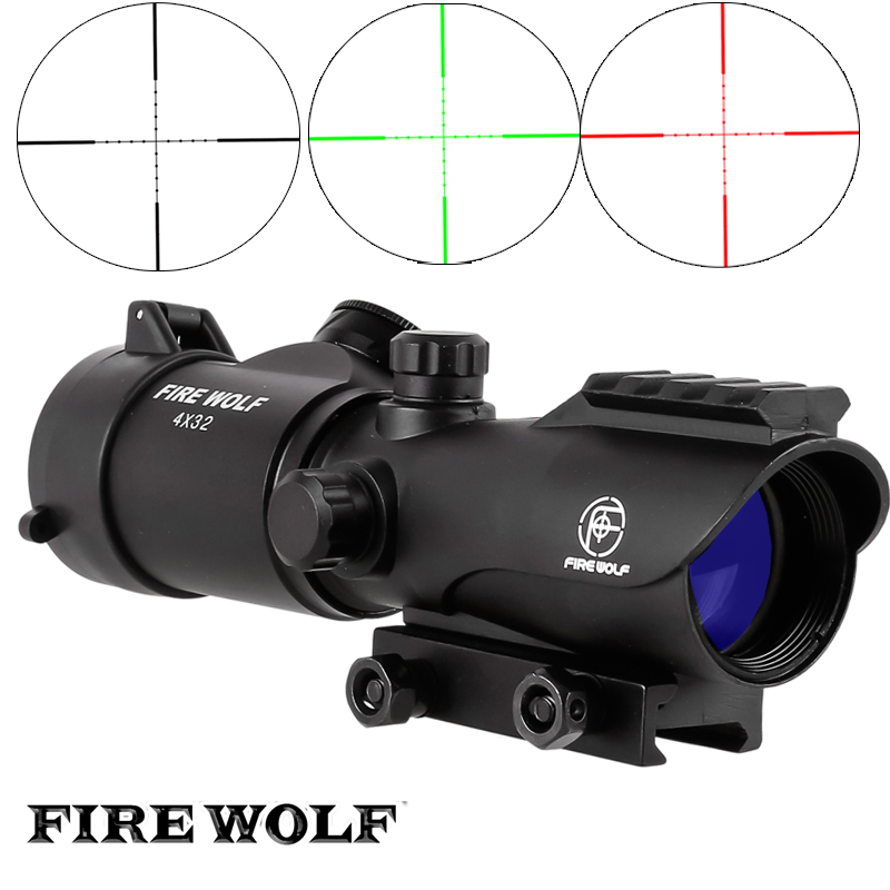 FIRE WOLF Tactical 4X32 LER Red Dot Sniper Scope Airsoft Sight Riflescope Rifle Scope for Hunting Shooting tactical 4x32 rifle scope and 1x red dot sight scope for picatinny rail fir ar 15 ak 47 hunting shooting