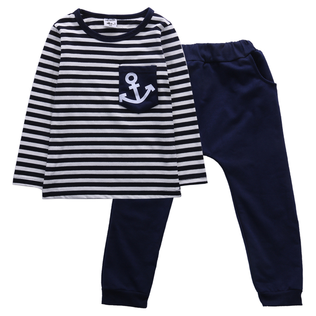 d5a2e9861 Toddler Kids Baby Boy Anchor Striped T-shirt Tops+Marine Pants Trousers  Outfits 2pcs Boys Long Sleeve Stripe Outfit Clothing Set