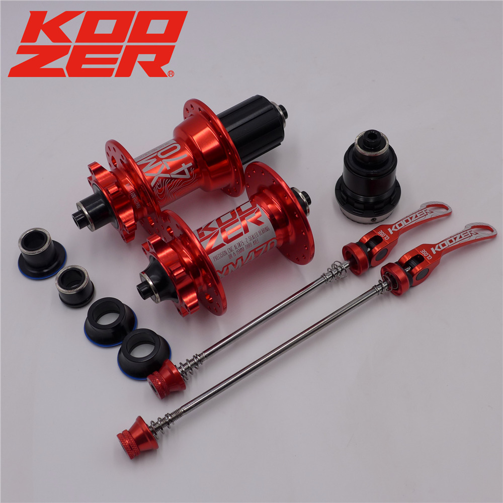KOOZER XM470 MTB Hub 32 Hole Mountain Bike Disc Brake Bearing Hubs Bicycle Front Rear XD QR&Thru Black Red koozer xm490 sealed bearing mtb mountain bike hub quick release set bike hub 32 hole disc brake thru axle qr bicycle hubs