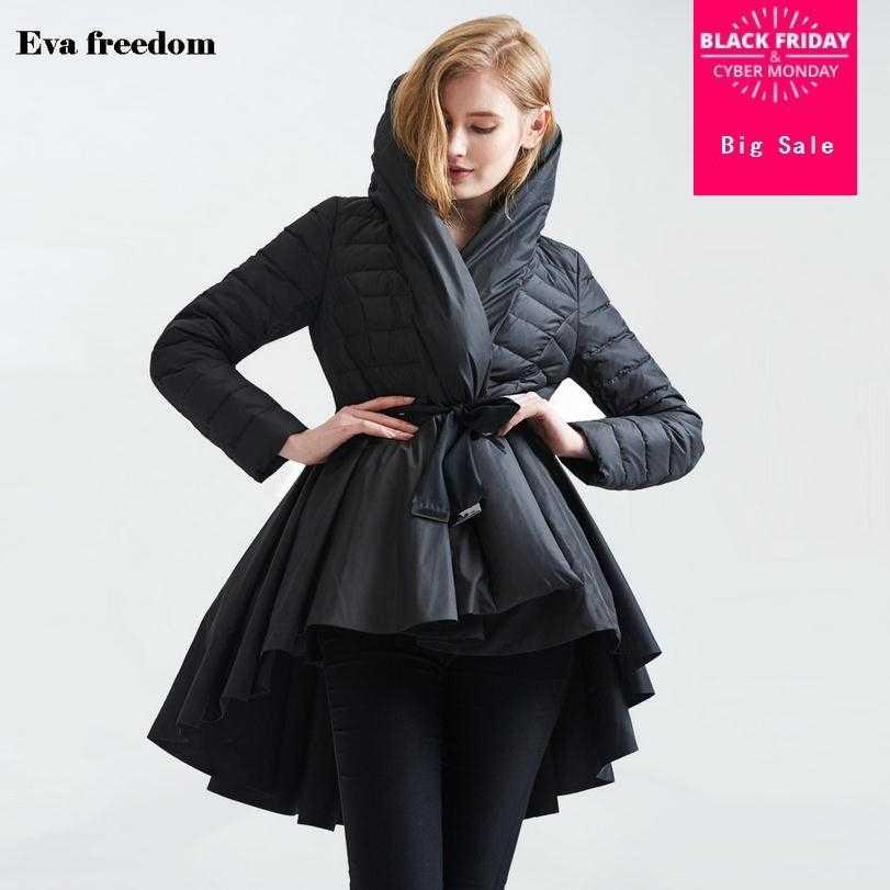 46d14e76303c Wholesale Fashion brand 85% white duck down parkas 2018 winter Asymmetric  Length with belt warm