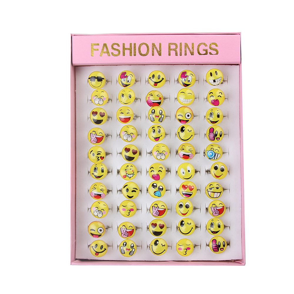50pcs/lot Adjustable Cute Cartoon Smiley Face Emoji finger Ring Resin Face And Alloy Ring Party Jewelry For Women Girl Pink Box exquisite gemstone embellished vivid alloy finger ring for women