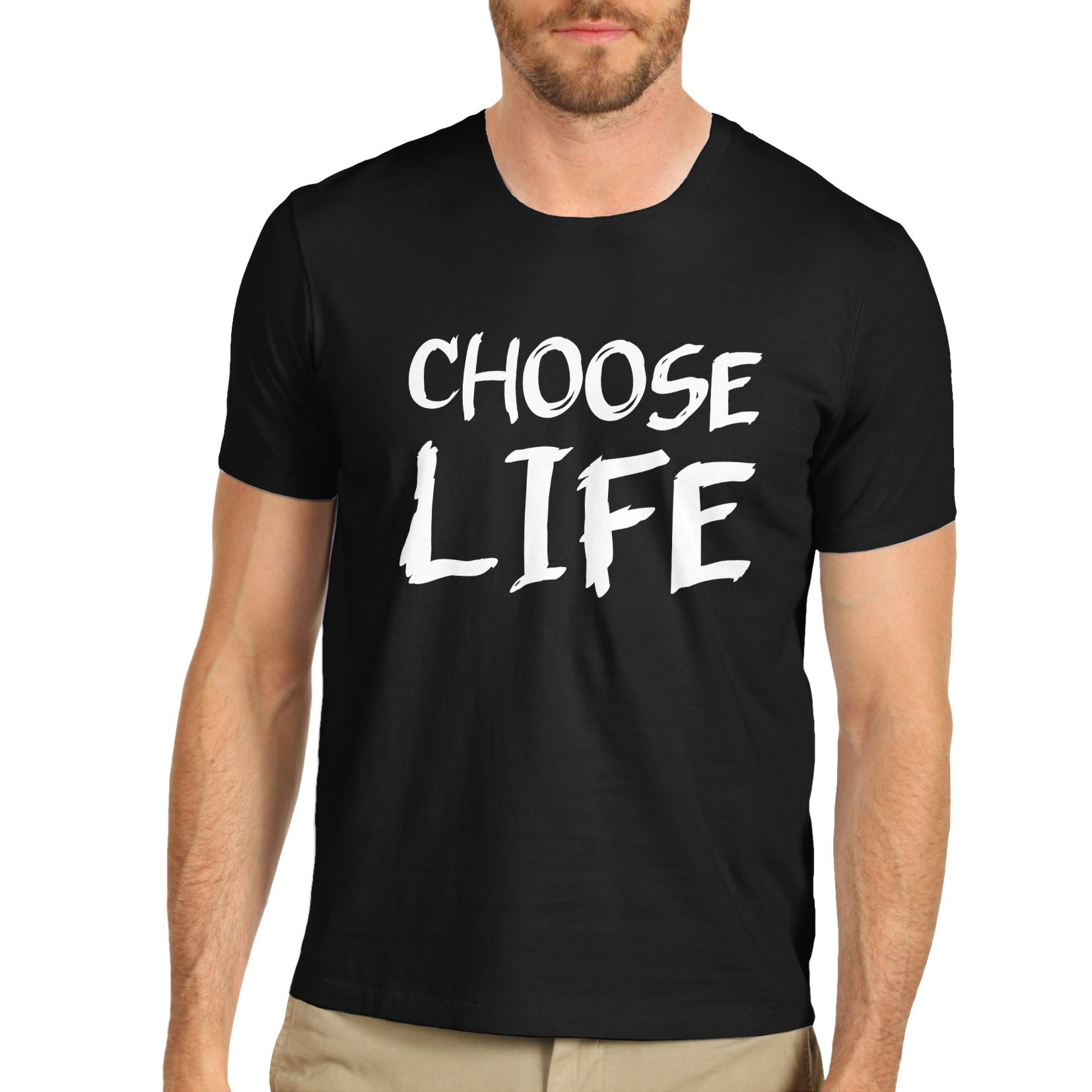 Western Style Mens Cotton Novelty Motivational Design Choose Life T Shirt Black Small Normal
