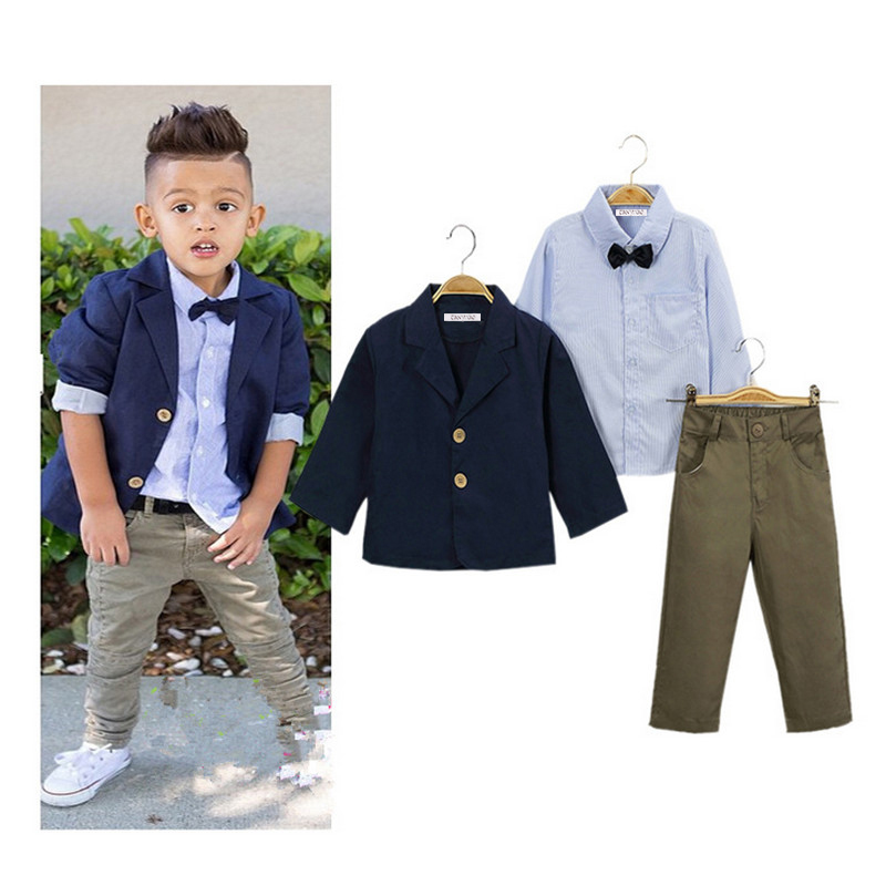 Children's clothing sets 2017 Gentlemen Baby boys suit Casual Long sleeve coat jacket T-shirt pants 3 pcs suit set  2-8 yrs