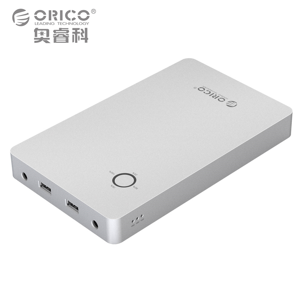ORICO 18000 28800mAh Notebook Power Bank Aluminum Alloy Dual USB Output One DC 12 15 19V