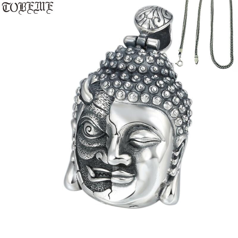100 925 Silver Buddha Pendant Necklace Sterling Demon Pendant Good Luck Tibetan Pendant Necklace