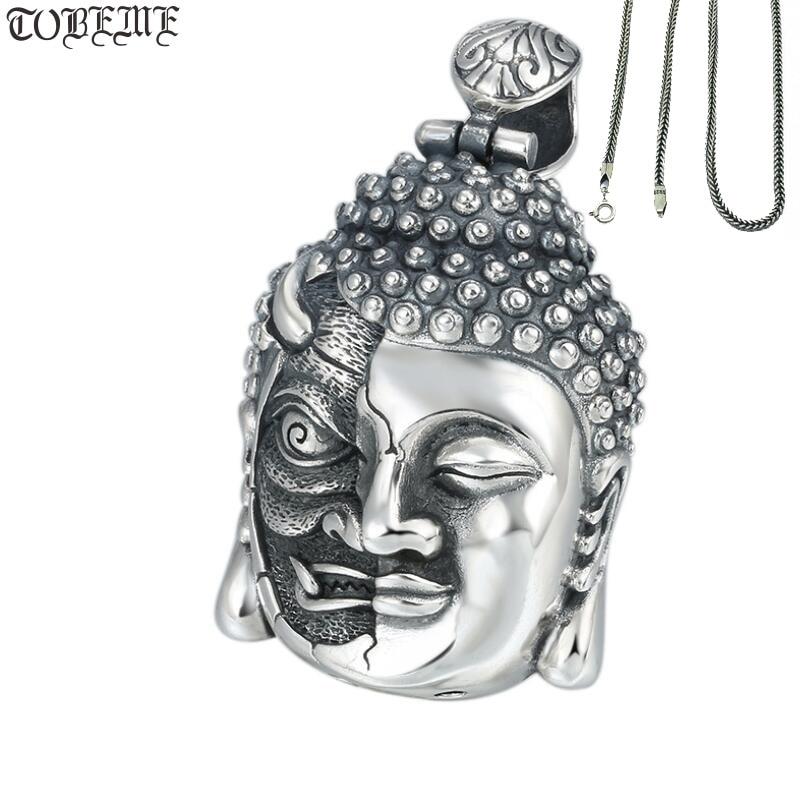 Takı ve Aksesuarları'ten Sallantılı kolye'de 100% 925 Gümüş buda kolye Kolye Iblis Kolye Iyi Şans Tibet Kolye Kolye'da  Grup 1