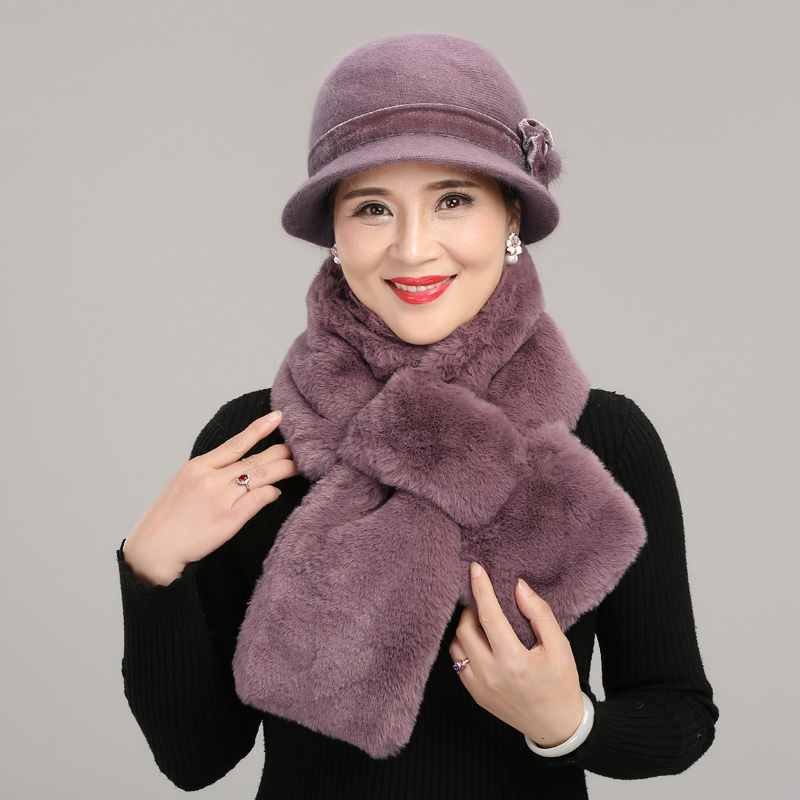 Middle Aged Female Hat Women's Winter Mothers Grandmother Warming Christmas Gift Cap Lady Outdoor Thickening Velvet Scarf H7171