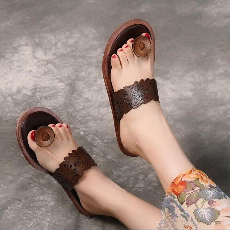 2019 été en cuir véritable femmes sandales littéraires rétro tongs pour femmes femmes plage pantoufles Top qualité dames chaussure Sli - 2