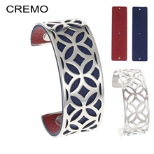 Cremo Argent Bijoux Femme Arm Cuff Bracelets Bangle Rhombus Bangles Stainless Steel Bracelet 25mm Reversible Leather