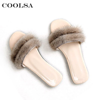 Coolsa Real Mink Fur Sandals Women Fluffy Plush Slides Rubber Flat Non slip Outdoor Casual Slippers Soft Lady Luxury PU Shoes