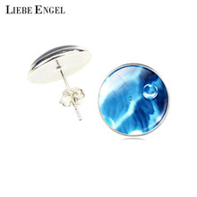 Water Drop Glass Cabochon Silver Stud Earrings 2016 New Fashion Jewelry Earrings For Women Creative Gifts