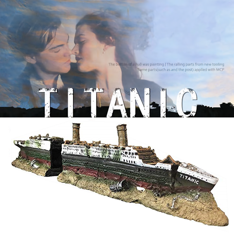 Titanic Model Resin Aquarium Wrecked Boat Ship Decoration Artificial Fish Tank Ornament Sunk Ship Boat Decor
