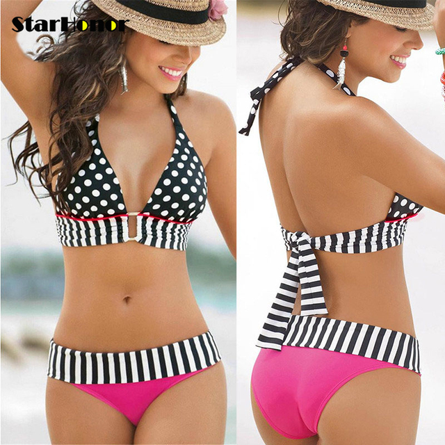 Brazilian Retro Polka Dot Halter Two-piece Suits Bra Bikinis Set Stripe Bathing Suit Swimwear Plus Size S-4XL