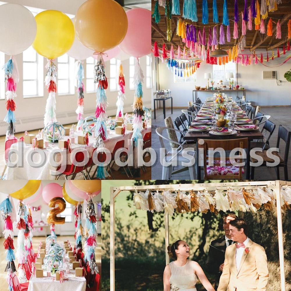5Pcs/Bag 15 Inch (Height) 35CM*25CM Tissue Garlands Bunting Paper Tassels Garland Wedding Pom Party Decor tassles decoration