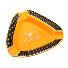 COHIBA Ceramic Cigar Ashtray Round Gadgets Portable 3 Holders Cigarette with Gift Box