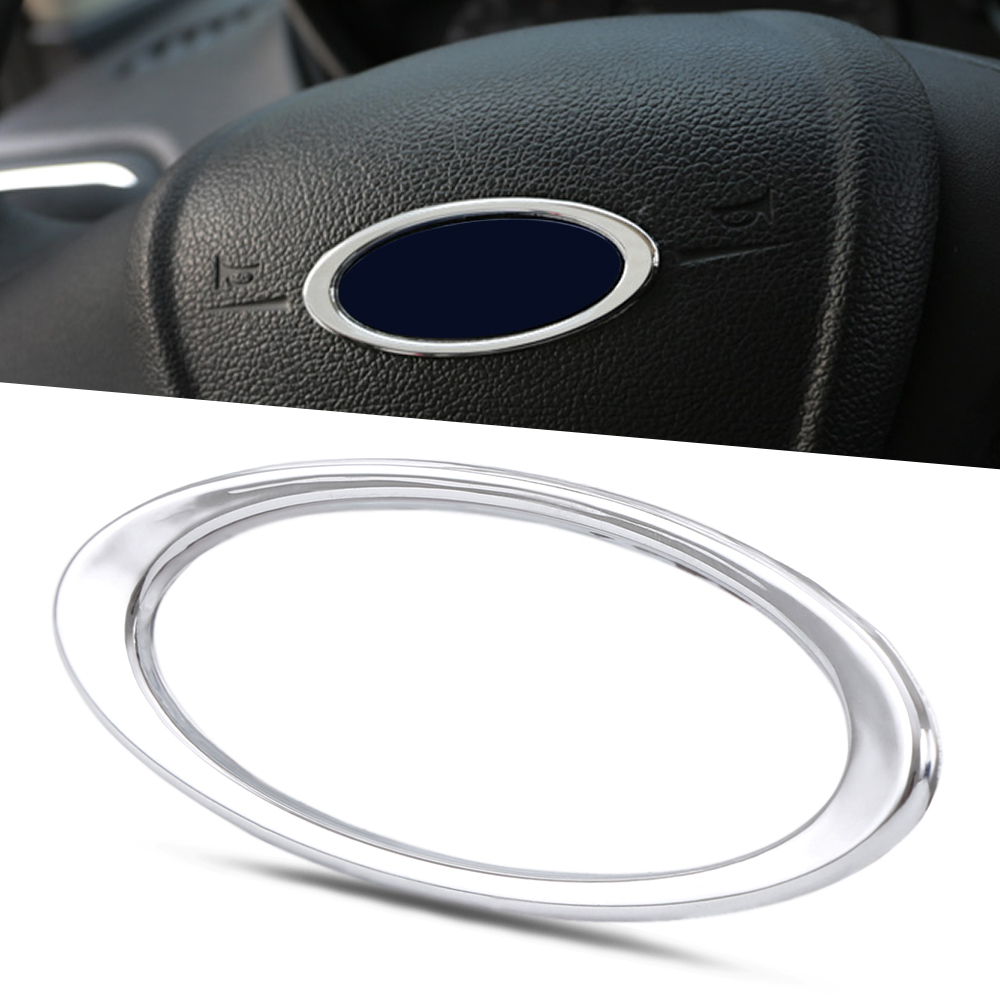 Steering wheel abs chrome trim cover logo ring for ford focus 2 3 mk2 mk3 mk4kuga
