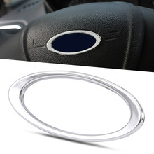 Steering Wheel ABS Chrome Trim Cover Logo Ring For Ford Focus 2 3 MK2 MK3 MK4Kuga Fiesta Ecosport MONDEO Fusion Auto Accessories(China)