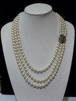 Frau schmuck 3 reihen halskette 8mm weiß Natürliche Südsee Shell Perle AAA Runde Perle blume verschluss Halsketten 18 ''45 cm