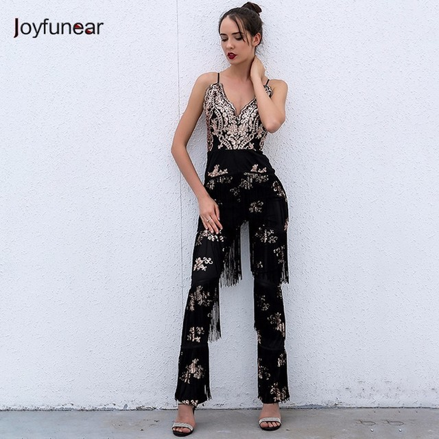 76393e3c8a759 Joyfunear new Sexy sleeveless deep V-NECK halter lace tassel jumpsuit  Sleeveless sequin Overalls Tassels Backless Rompers