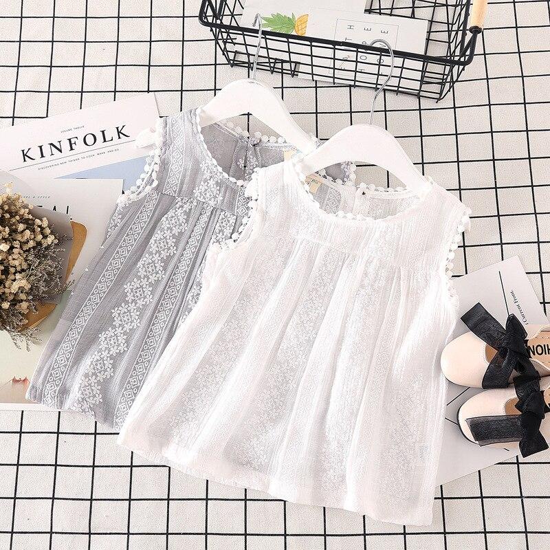 Meninas de verão Camiseta 2019 Nova Flor Rendas Sem Mangas Crianças T-Shirt para a Menina Ocasional O-pescoço Da Criança Crianças Encabeça Camiseta Menina