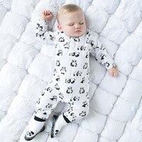 Coton Nouveau-Né Bébé Unisexe Combinaisons Mignon Panda Impression Infantile Garçons Filles Barboteuse À Manches Longues Enfant Enfants D'une Seule Pièce Salopette Enfant