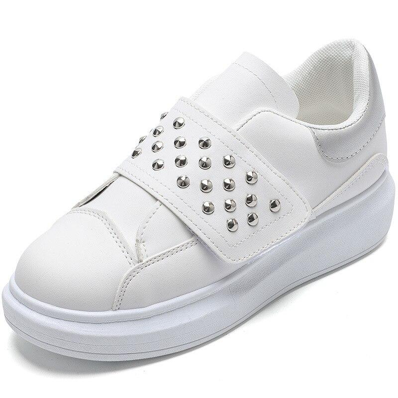 2019 primavera nuevo diseñador blanco remache mocasines zapatos mujer plataforma zapatillas mujeres Tenis Femenino Casual zapatos femeninos N3-63 Gdgydh, primavera Otoño, plataforma Sexy para mujer, zapatos de tacón alto grueso para mujer, zapatos de suela de goma negra para mujer, zapatos de plataforma de gamuza