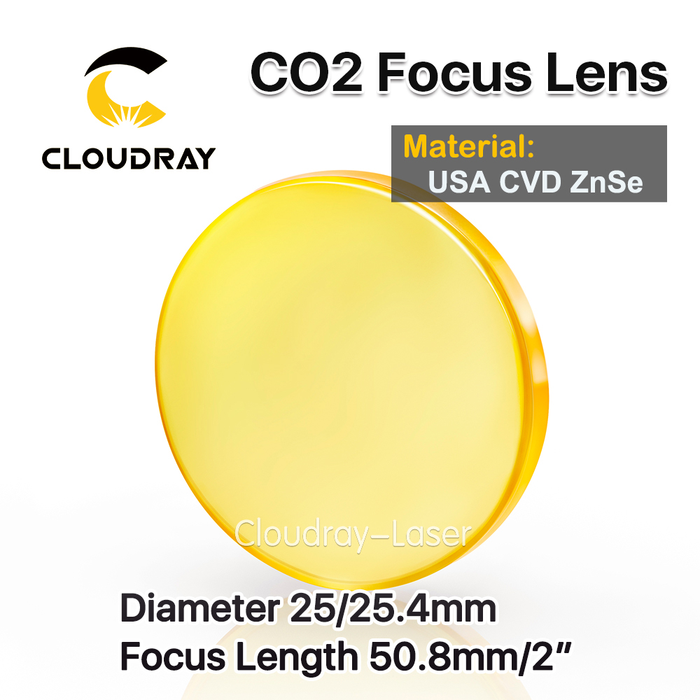Cloudray USA CVD ZnSe Focus Lens Dia. 25/25.4mm FL 50.8mm 2 for CO2 Laser Engraving Cutting Machine Free Shipping usa cvd znse focus lens dia 28mm fl 50 8mm 2 for co2 laser engraving cutting machine free shipping