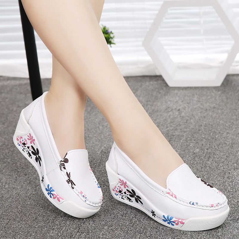 Hot Sale New Women's Genuine Leather Platform Shoes Wedges White Lady casual Shoes Swing  mother Shoes size 35-40 2016 new arrival woman flats genuine leather white women casual shoes platform hot sale designer flat shoes drop shipping