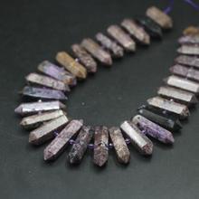 """15,5 """"strand Природный чароит шестигранные Подвески с двумя точками, фиолетовые драгоценные камни, граненые кусочки, бусины для изготовления ювелирных изделий"""