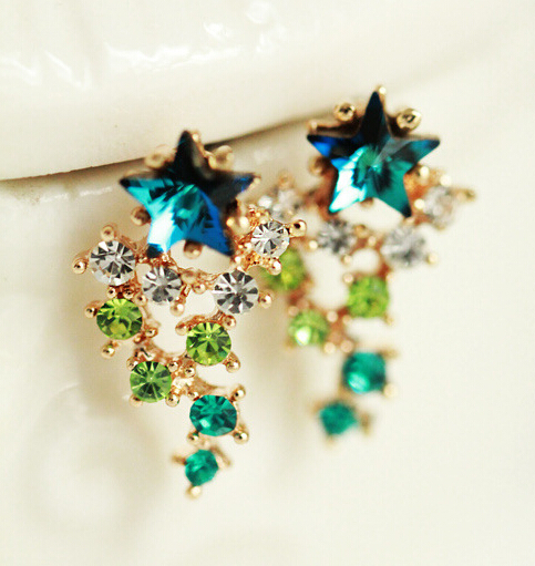 Korean Exquisite Exaggerated Promotion Luxury Five Star Zircon Colorful Crystal Meteor Shower Stud Earrings E2495