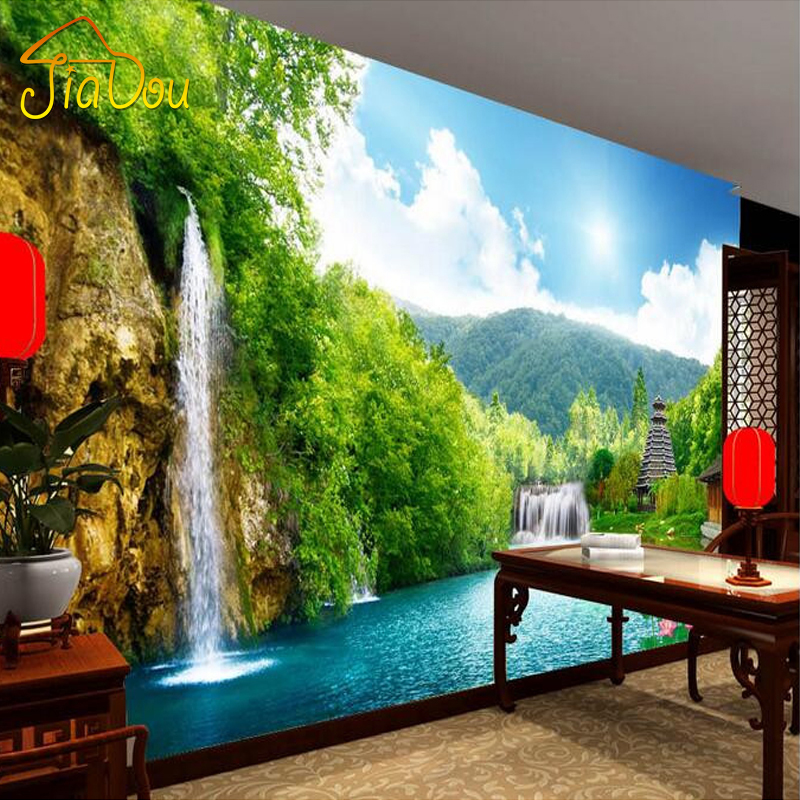 Custom 3D Non-woven Mural Wallpaper Mountain Waterfall Tower Wall Painting Photo Wallpaper Living Room Bedroom Wall Covering custom 3d mural wallpaper european style painting stereoscopic relief jade living room tv backdrop bedroom photo wall paper 3d