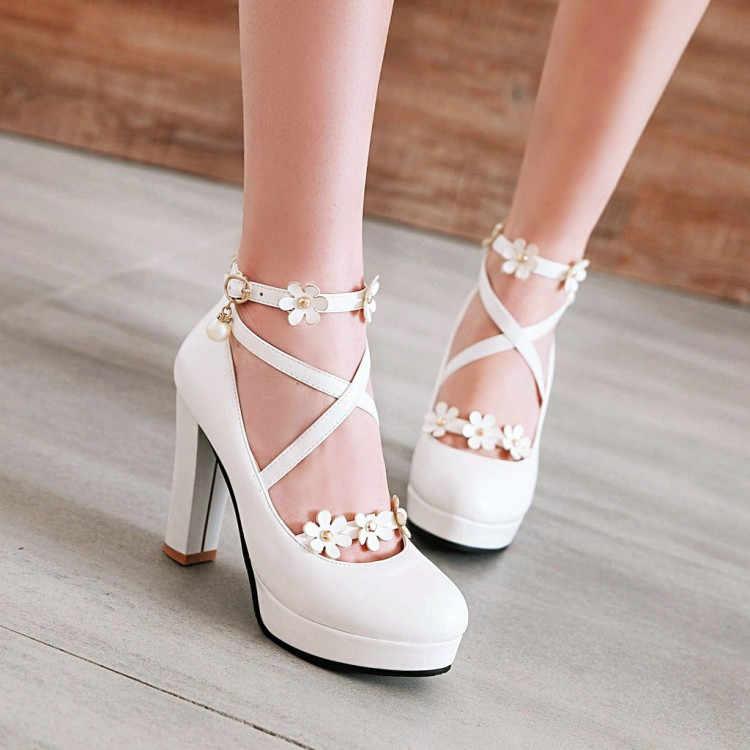 PXELENA Black White Pink Bride Wedding Shoes Women Cross Strap Block Square High  Heels Platform Pumps d29355a765af