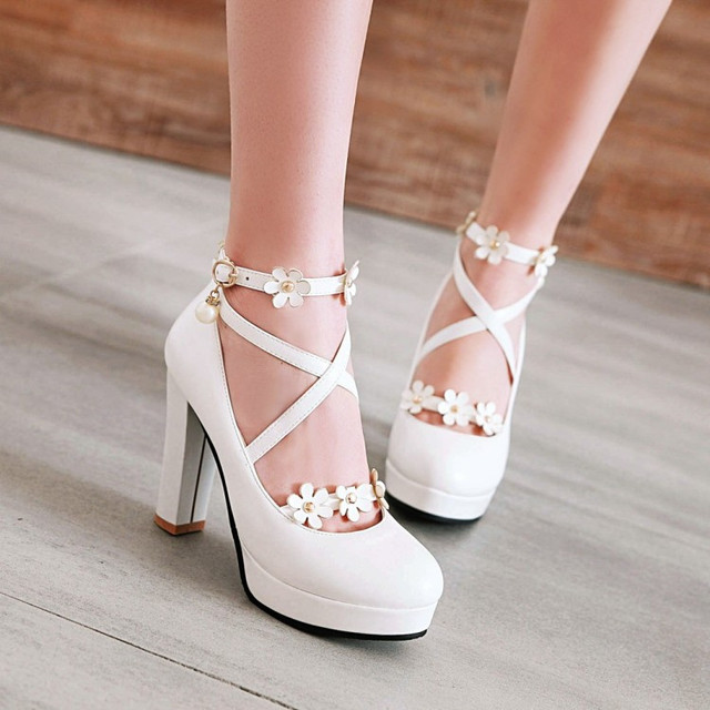 PXELENA Black White Pink Bride Wedding Shoes Women Cross Strap Block Square High Heels Platform Pumps Derss Date Heels Hot 34-43