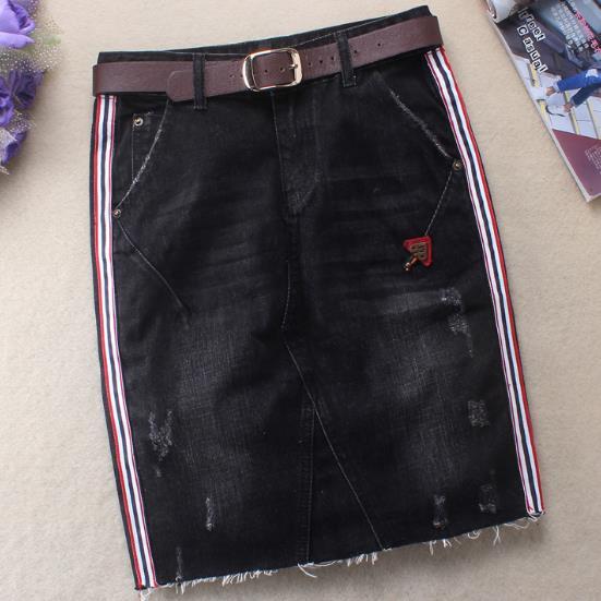 2018 estate nuove donne side stripe ginocchio-lunghezza del pacchetto del pannello esterno dell'anca del denim dei jeans a vita alta matita gonne più szie 2XL