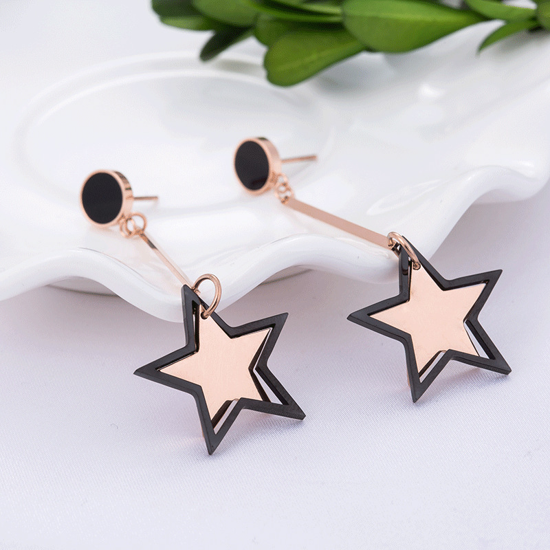 New Design Fashion Titanium Steel Star Earrings Female Jewelry Rose Gold Anniversary Long Dangle Earrings For Women RN01081