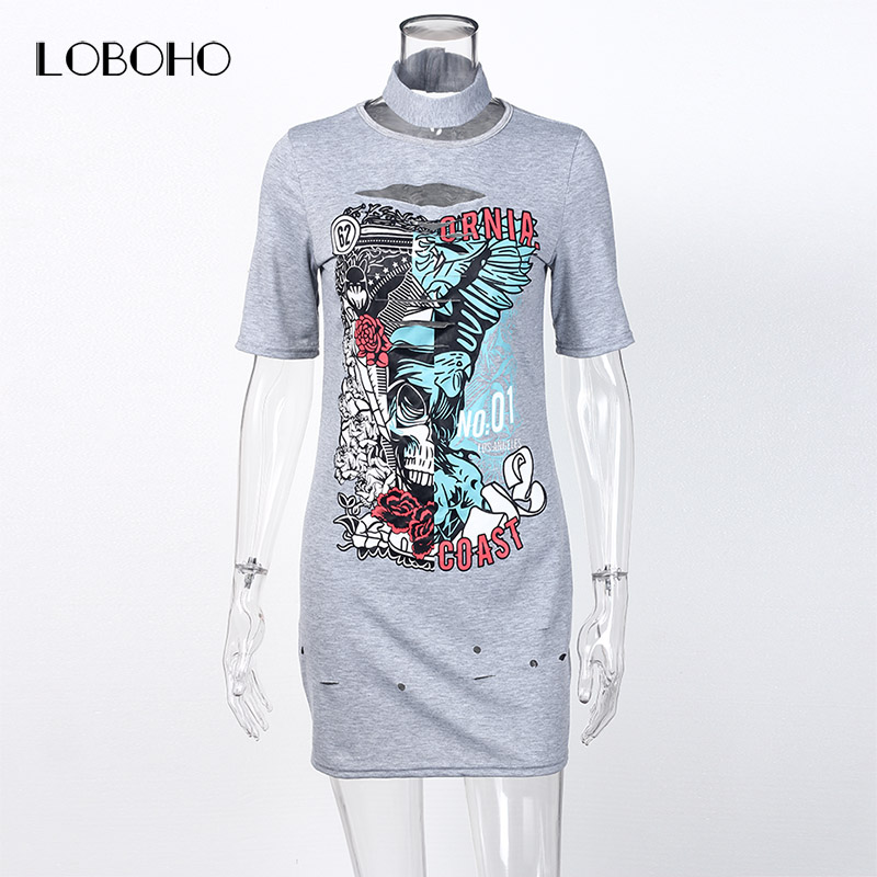 b8cfd7411981 Casual T shirt Dress Summer 2018 Short Sleeve Dresses Women Streetwear  Hollow Out Skull Print Cotton T Shirt Dress Black Gray-in Dresses from  Women's ...