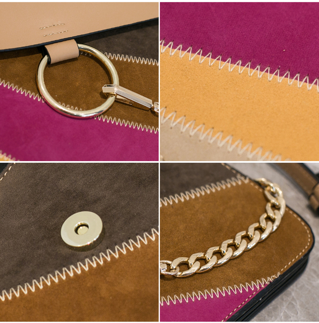 2017 Sac A Main Women Flap Satchel Shoulder Bag Female Handbag Leather Candy Colorful Ring Chain Faye Bag Crossbody Bag HDG220