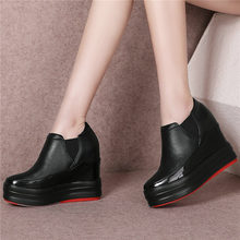 Tennis Shoes Women Cow Leather Wedges High Heel Party Pumps Shoes Mid Top Platform Oxfords Punk Sneakers Creepers Casual Shoes dumoo girl super high heel 8cm cow leather casual shoes women sneakers leisure platform shoes wedges casual shoes mixed color