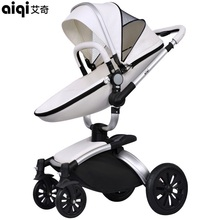 Rushed Aiqi Baby Stroller Pushchair Pram Buggy Sit Flat Foldable Carriage Aluminum Alloy Mop Rotating Pu Leather High Landscape