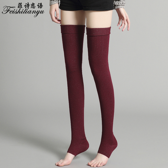 15bd46d3c Feishilianyu Fashion Stockings Women Cashmere Thigh High Thick Over the Knee  Long Cotton Knitting Hosiery Ladies Women Harajuku