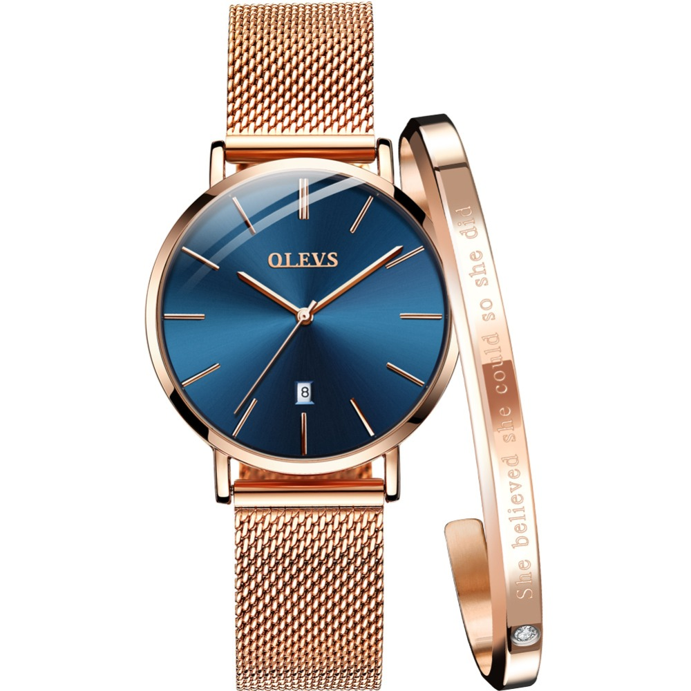 OLEVS Women Watches Rose Gold Watch Stainless Steel Bracelet Quartz Watch Women Ultra Thin Ladies Wrist Watches For Women Clock