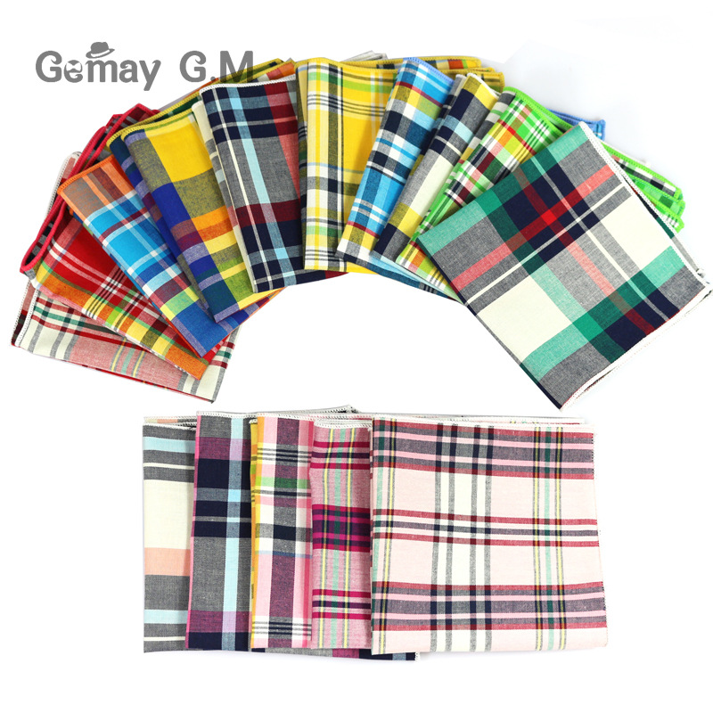 Brand Casual Men's 100% Cotton Handkerchiefs Woven Plaid Pocket Square Male Wedding Party Handkerchief Towels Hanky