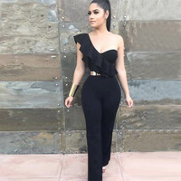 Seamyla New Arrive Sexy Black Jumpsuits Women One Shoulder Bandage Jumpsuits Bodycon Club Eening Party Playsuit Bodysuits