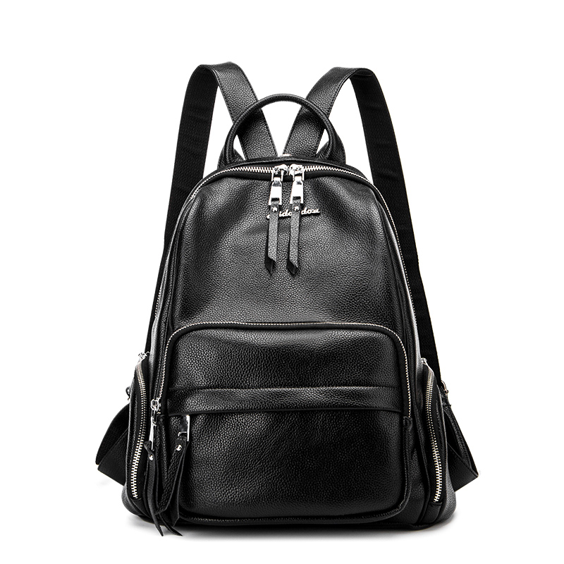 New 2017 <font><b>Real</b></font> Genuine Leather Women Backpack Rucksack Woman Korean Style Ladies Strap Laptop Bag Daily Backpack Girl School Bags