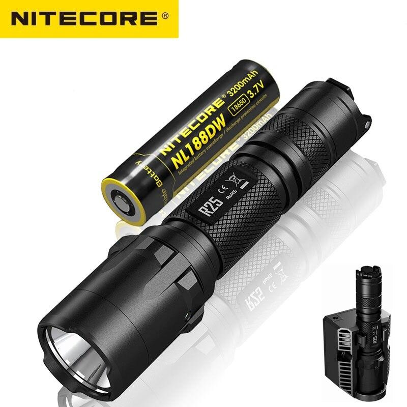 Nitecore R25 LED Flashlight CREE XP-L HI V3 White light 800LM Torch Flashlight with Nitecore NL188 18650 Battery for Self Defens цена