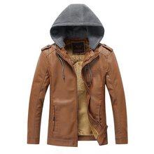 b New Mens Leather Jacket Hooded Hat Detachable Fashionable Men PU Warm Windbreaker
