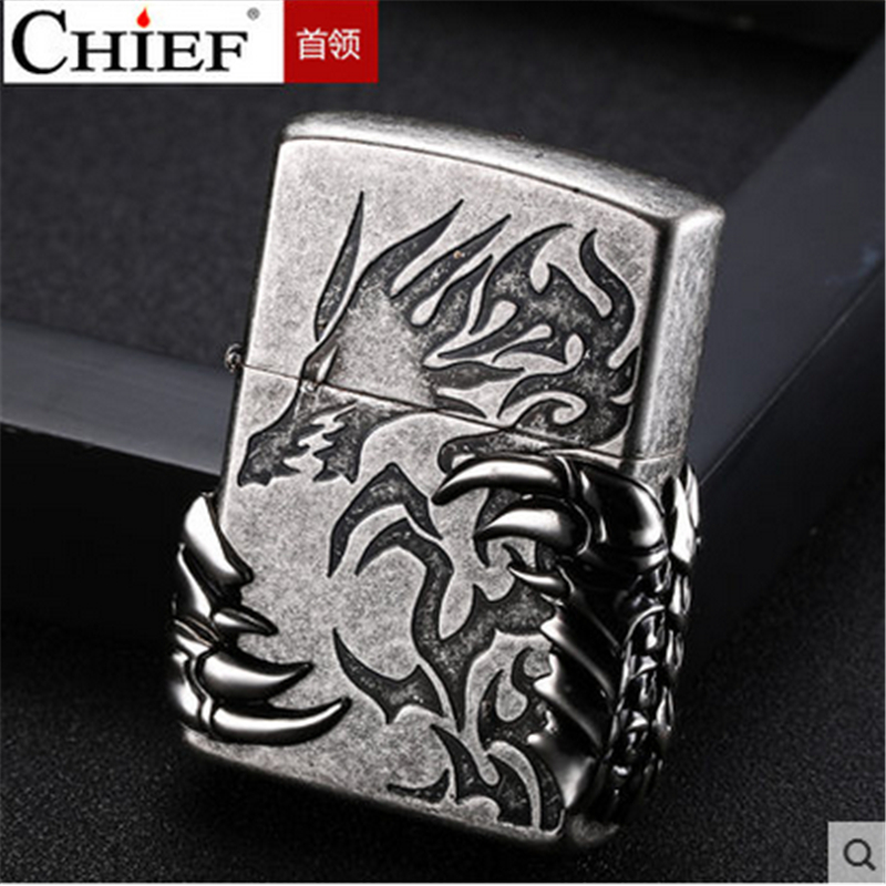 Talon Lighter Men Gadgets Dragon Paw Kerosene Oil 3D Petrol Lighter Gasoline Retro Relief Lighter-in Cigarette Accessories from Home & Garden
