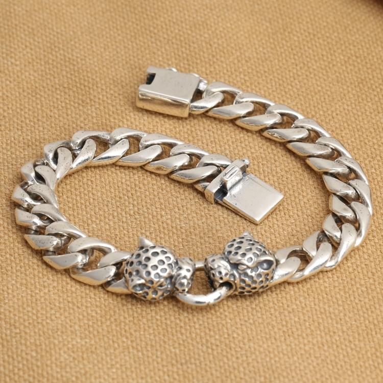 Handmade 925 silver Leopard Bracelet vintage thai silver chain bracelet punk bracelet man jewelry gift fashion 925 sterling silver vintage handmade sugilite bracelet women thai silver gift jewelry ch052535
