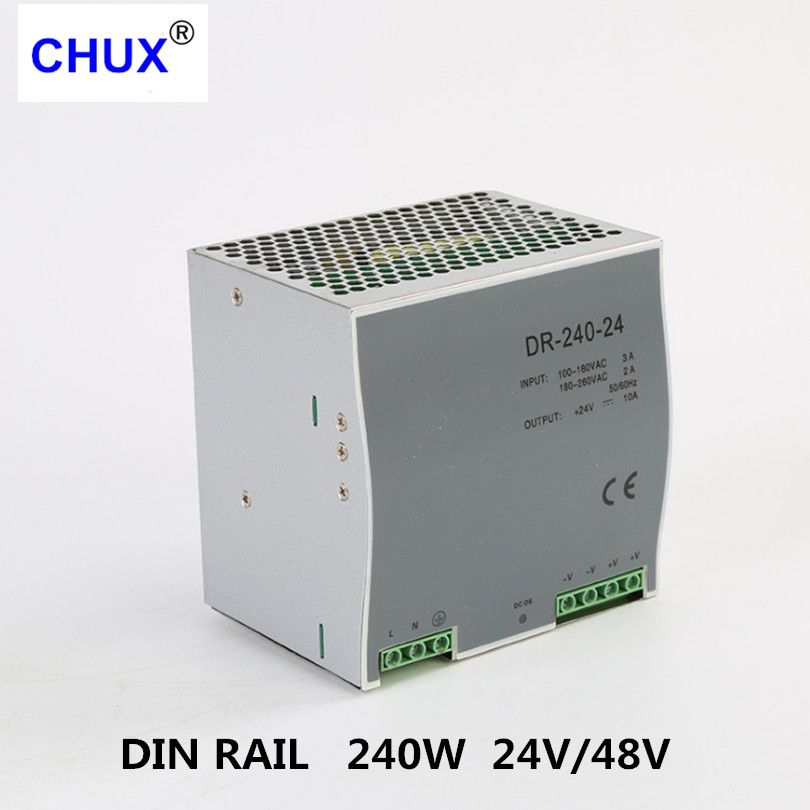 240W 24V 10A Switching Power Supply Din rail type DC AC DR240W Single Output Switch Transformer LED Driver SMPS-in Switching Power Supply from Home Improvement    2