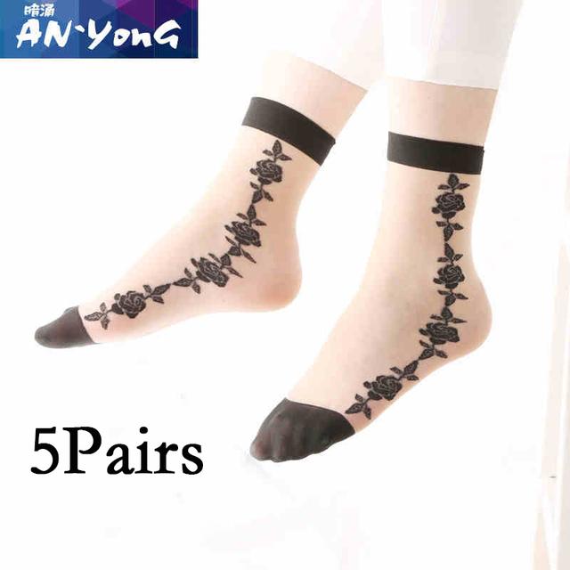5 pairs colorida ultrafina transparente cristalina hermosa flor del cordón mujeres cortos elásticos calcetines para mujer summer